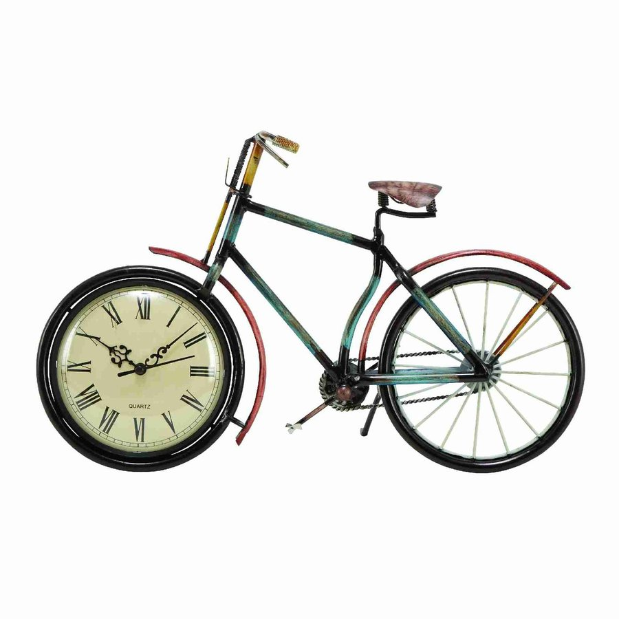 Woodland Imports Metal Cycle Analog Round Indoor Wall Standard Clock