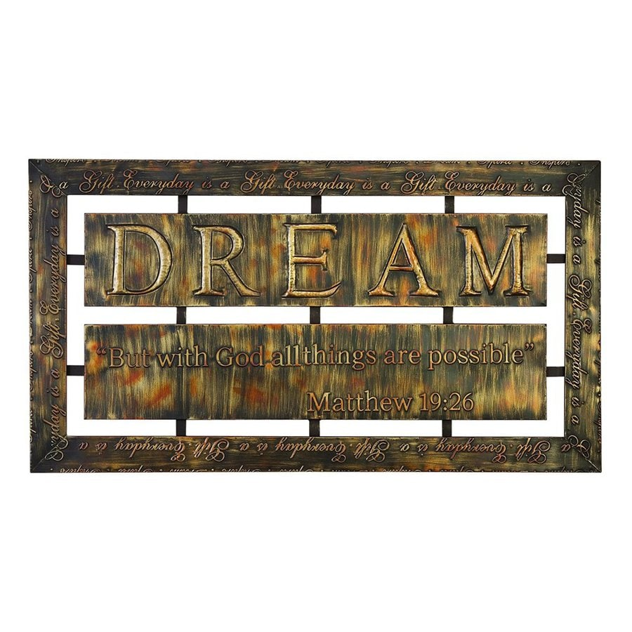 Woodland Imports 38-in W x 21-in H Frameless Metal Dream Sign Wall Art