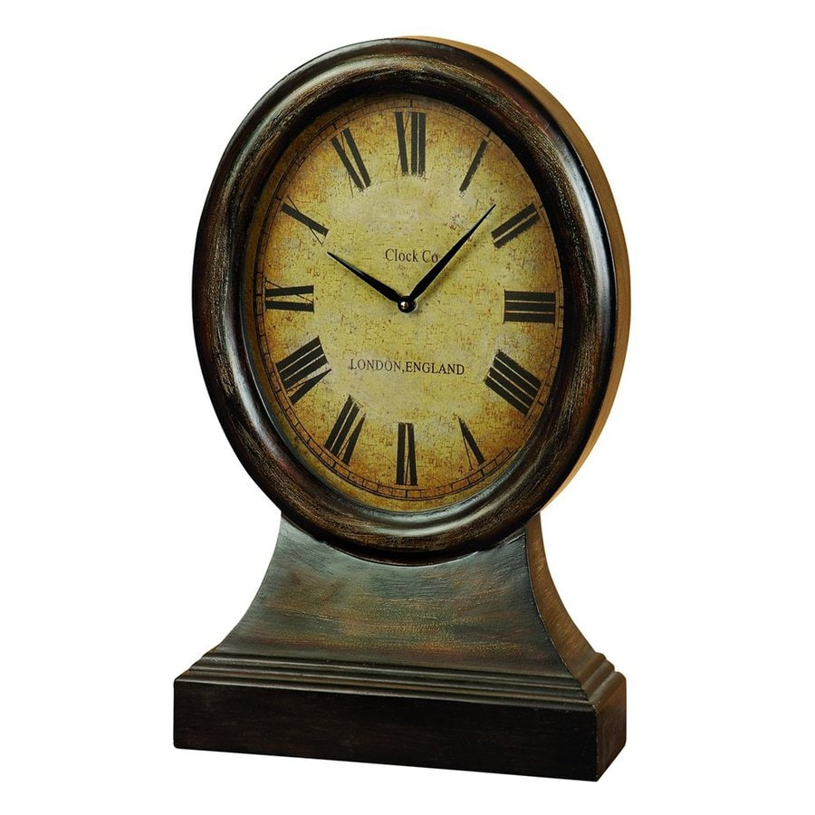 Woodland Imports Antique Wood Analog Round Indoor Tabletop Standard Clock