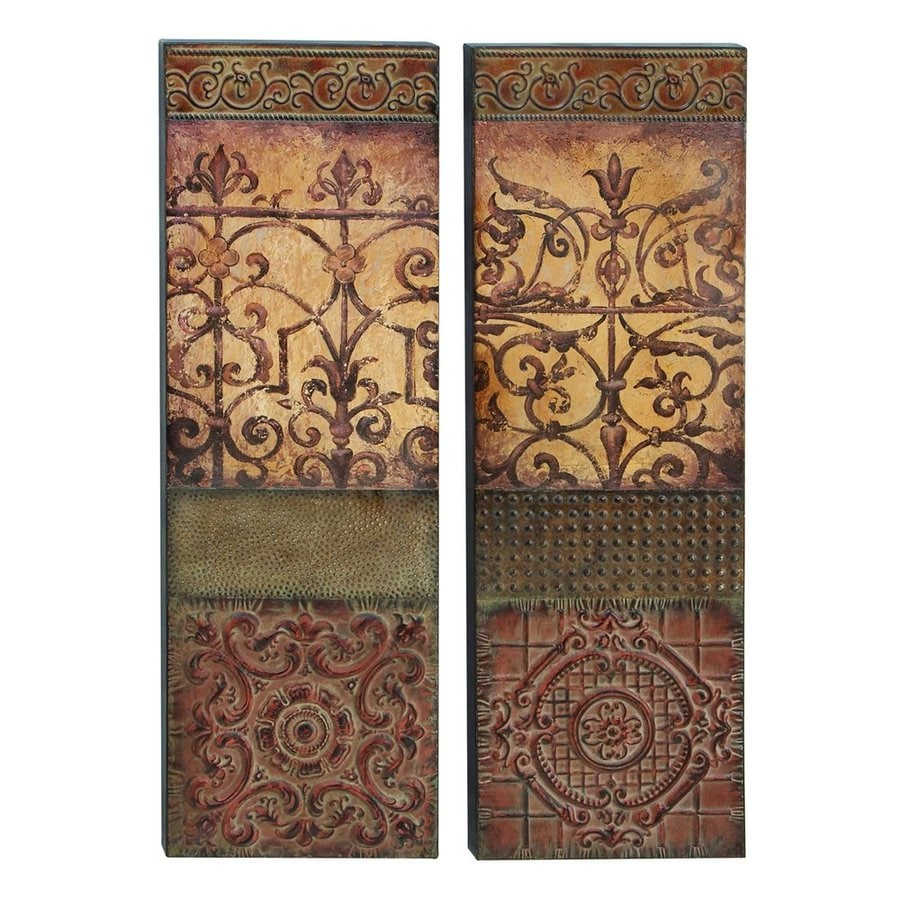 Woodland Imports 2-Piece 13-in W x 39-in H Frameless Metal Abstract Sculptural Wall Art