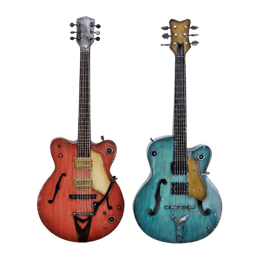 Woodland Imports 2-Piece 14-in W x 35-in H Frameless Metal Guitars 3D Wall Art