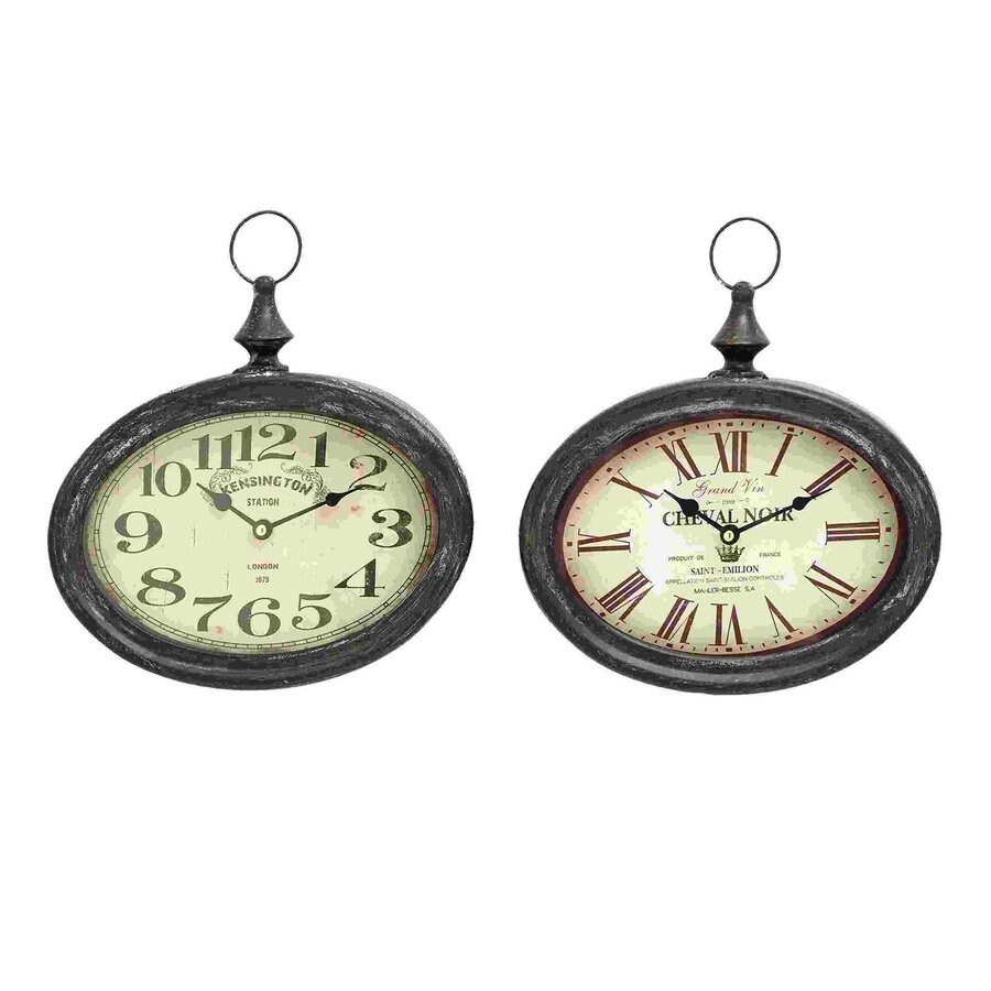 Woodland Imports Set of 2 Stylish and Durable Analog Round Indoor Wall Standard Clocks