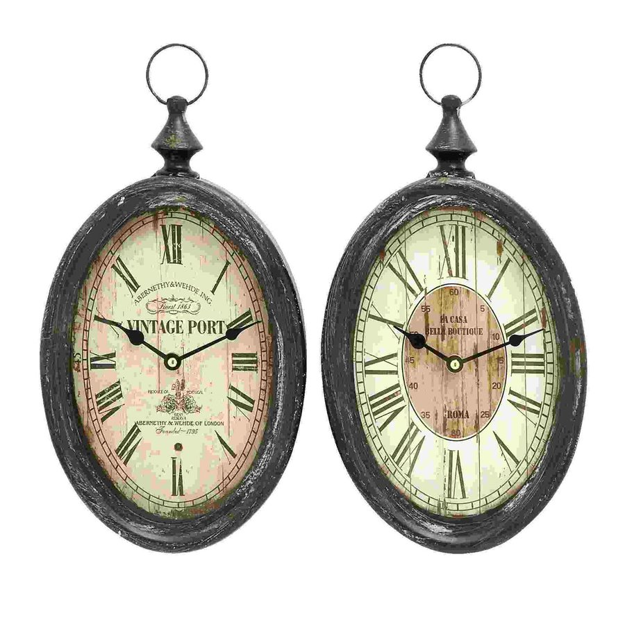 Woodland Imports Set of 2 Sophisticated Analog Round Indoor Wall Standard Clocks