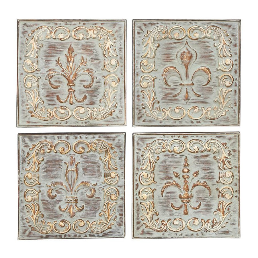 Woodland Imports 4-Piece 16-in W x 16-in H Frameless Metal Fleur De Lis Plaques Sculptural Wall Art