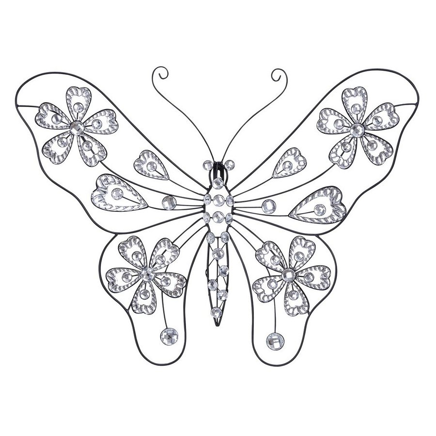Woodland Imports 22-in W x 18-in H Frameless Metal Butterfly 3D Wall Art