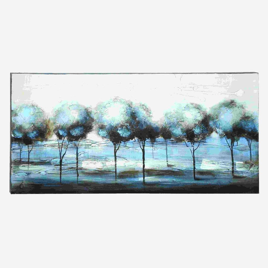 Woodland Imports 55-in W x 28-in H Frameless Canvas Forest with Beautiful Glowing Blues Print Wall Art