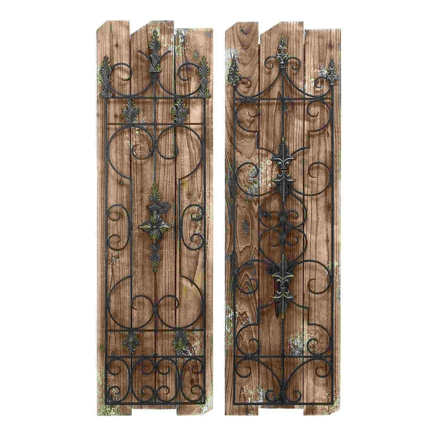 Woodland Imports 2-Piece 14-in W x 48-in H Frameless Wood Enchanting Wooded Gate 3D Wall Art