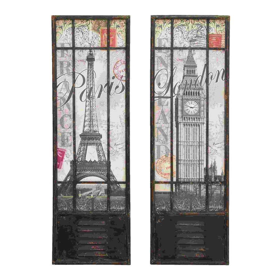 Woodland Imports 2-Piece 14-in W x 44-in H Frameless Metal London and Paris Tourist Destinations 3D Wall Art