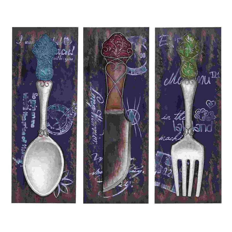 Woodland Imports 3-Piece 14-in W x 36-in H Frameless Metal Flatware and Dinner Plates 3D Wall Art