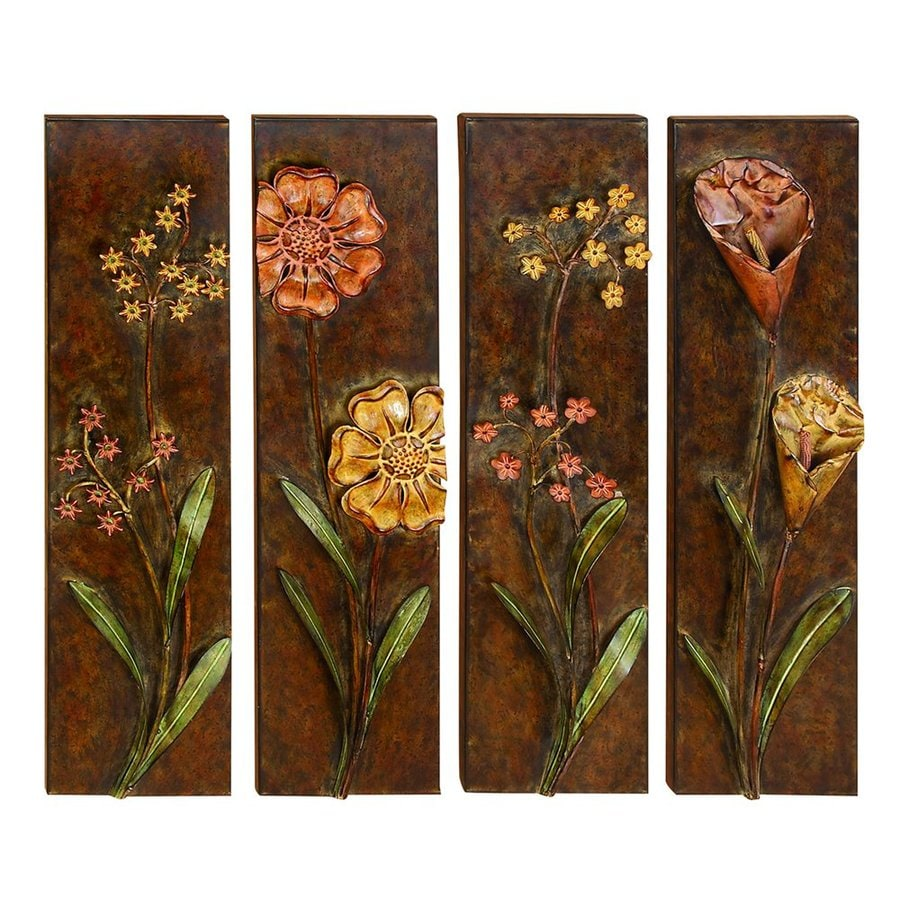 Woodland Imports 4-Piece 34-in W x 8.5-in H Frameless Metal Flowers Sculptural Wall Art