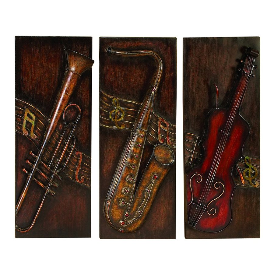 Woodland Imports 3-Piece 12-in W x 30-in H Frameless Metal Musical Instruments Sculptural Wall Art