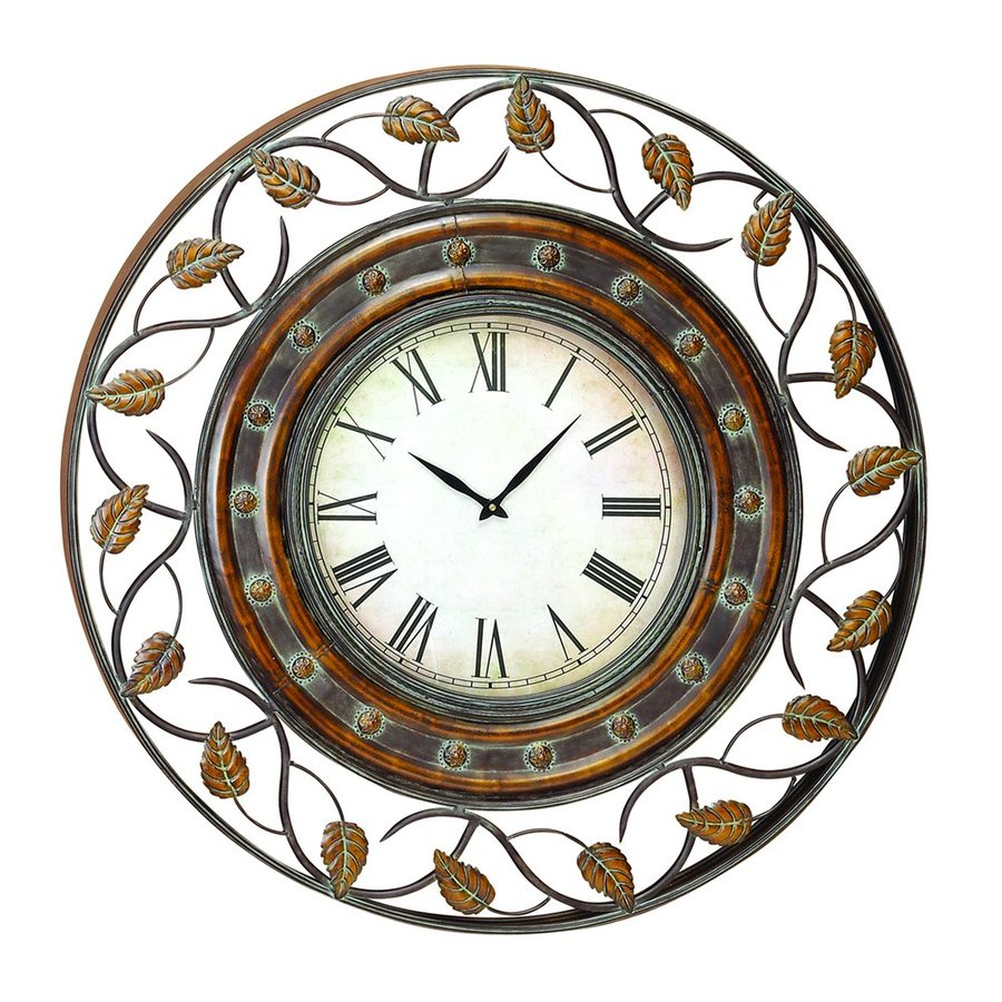 Woodland Imports Analog Round Indoor Wall Standard Clock