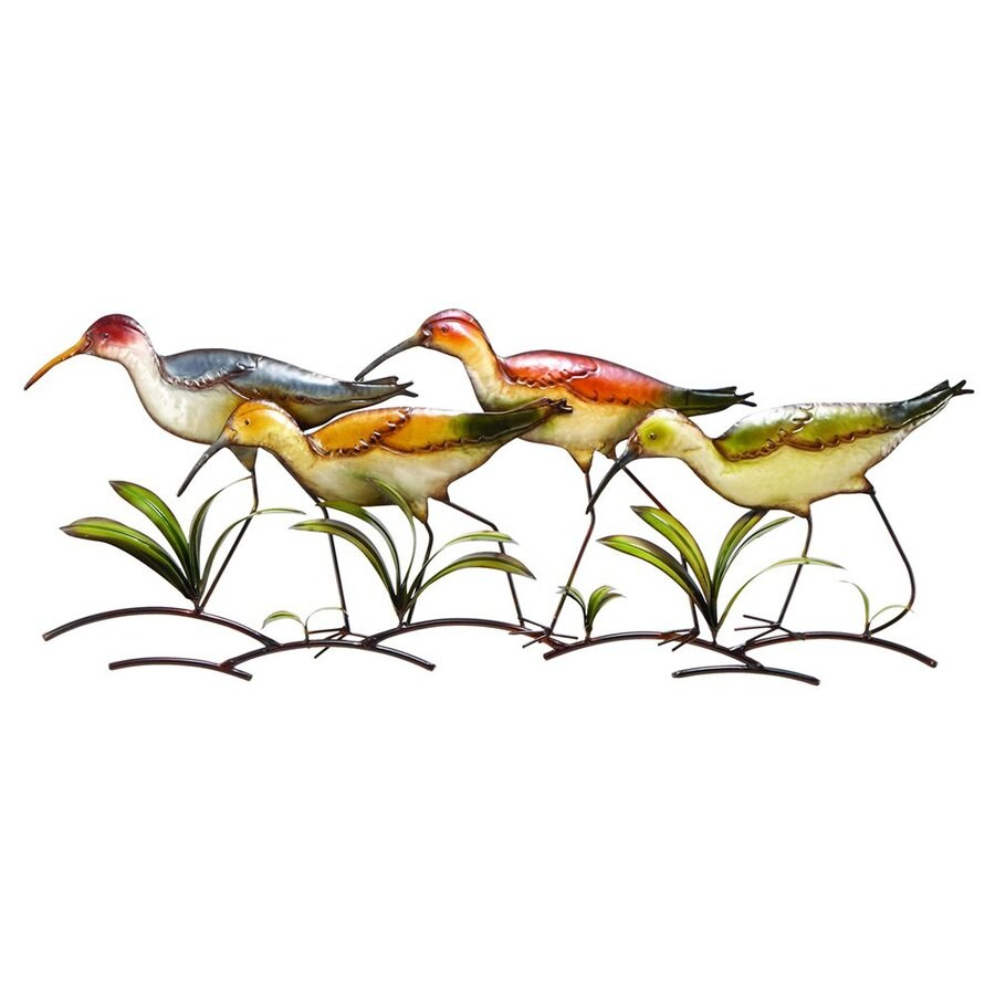 Shop woodland imports 39 in w x 14 in h frameless metal for Bird wall art