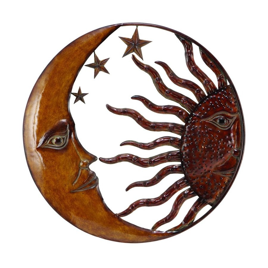 Woodland Imports 21-in W x 21-in H Frameless Metal Sun and Moon Sculptural Wall Art