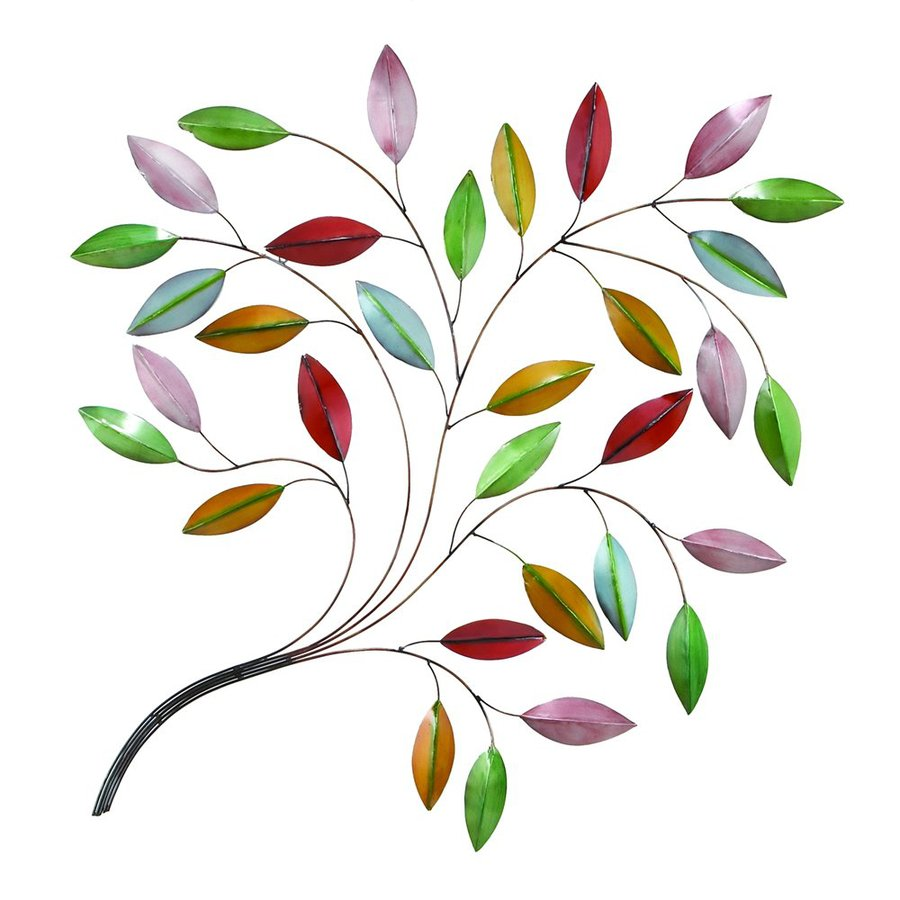Woodland Imports 40-in W x 49-in H Frameless Metal Leaves 3D Wall Art