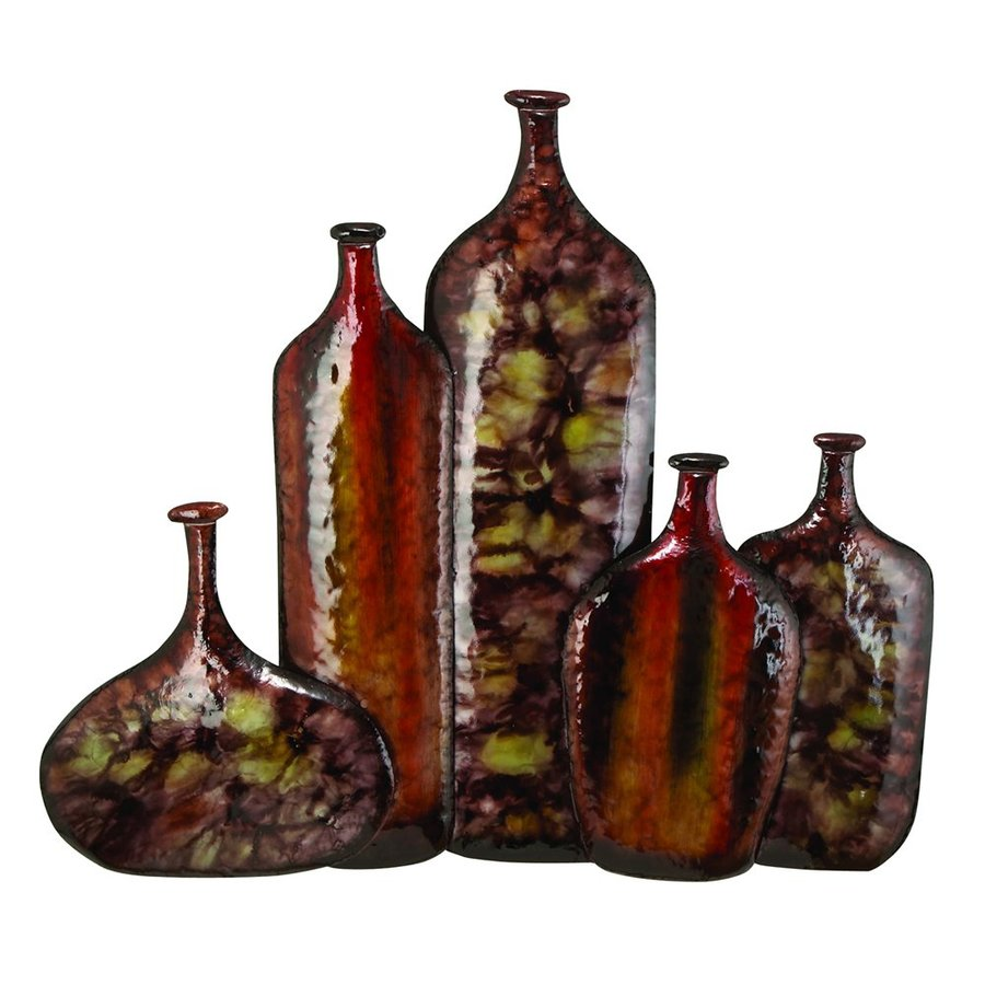 Woodland Imports 40-in W x 35-in H Frameless Metal Vases Sculptural Wall Art
