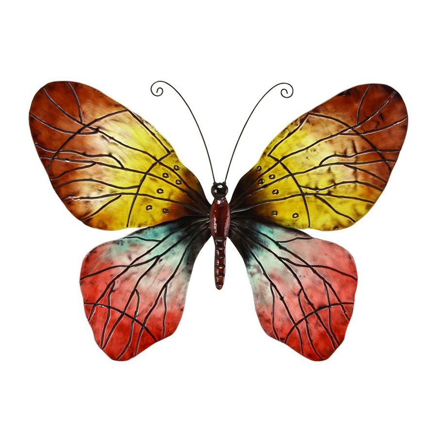 shop woodland imports 36 in w x 28 in h frameless metal With kitchen cabinets lowes with large metal butterfly wall art