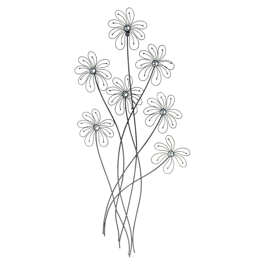 Woodland Imports 19-in W x 40-in H Frameless Metal Flowers 3D Wall Art