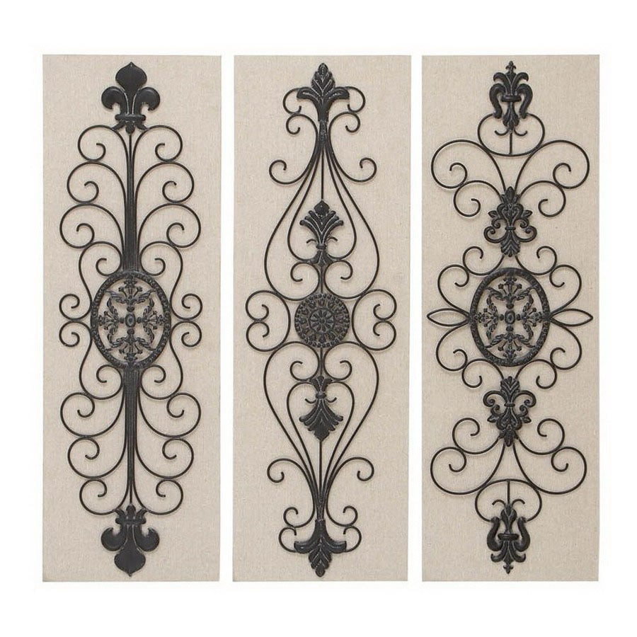 shop woodland imports 3 12 in w x 36 in h frameless metal scroll design 3d wall at