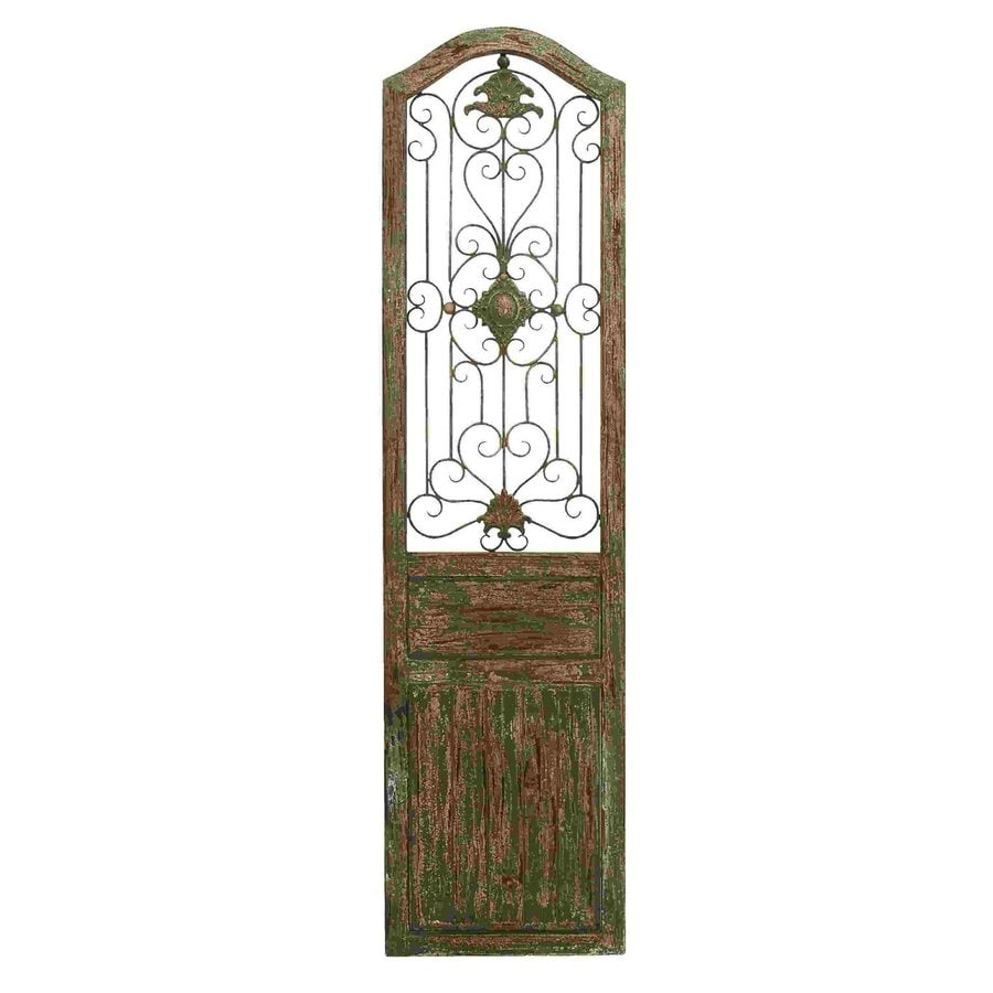 Woodland Imports 19-in W x 72-in H Frameless Wood Garden Door with Scrolling Ironwork 3D Wall Art