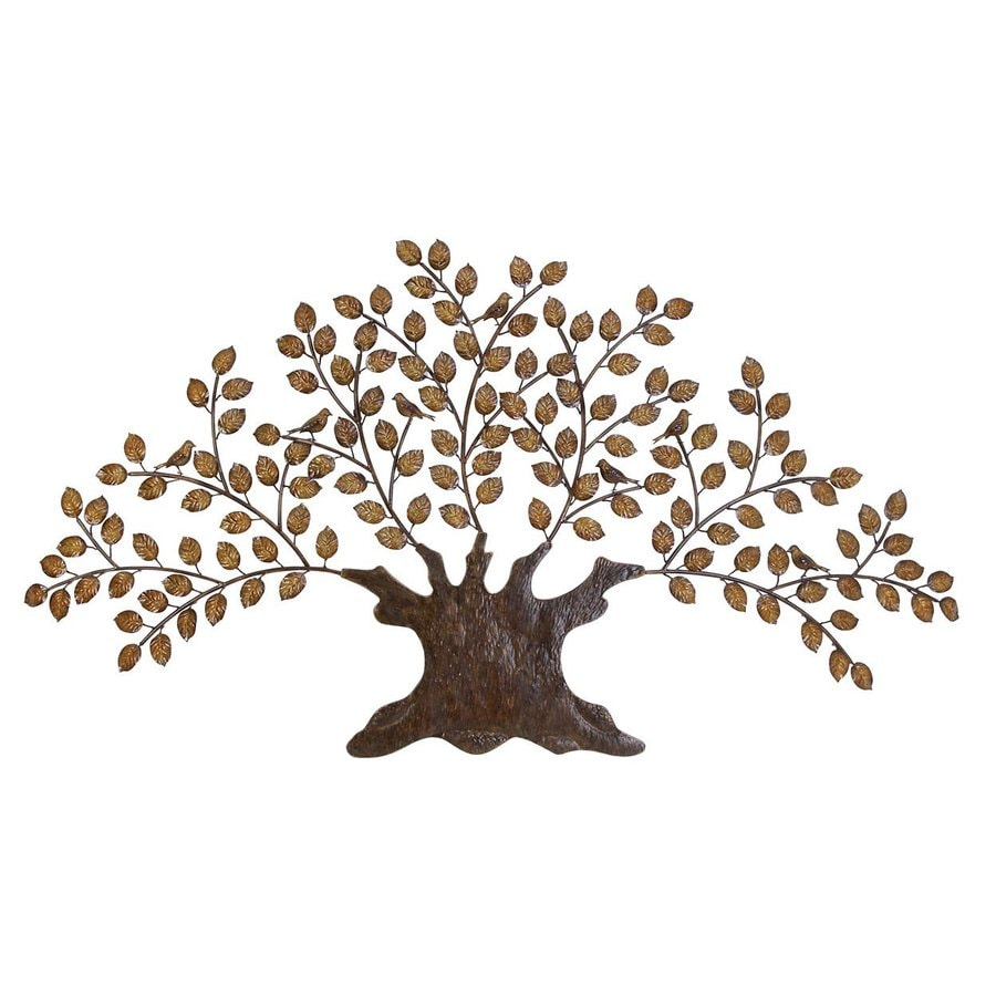 Woodland Imports 75-in W x 41-in H Frameless Metal Tree 3D Wall Art