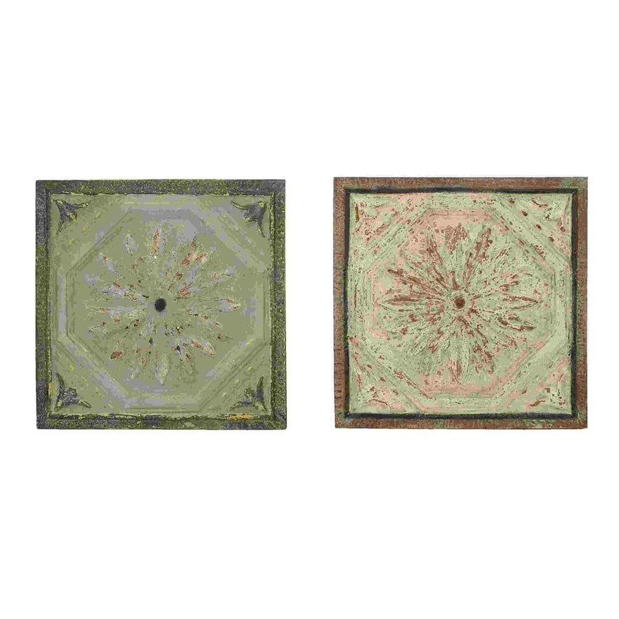 Woodland Imports 2-Piece 22-in W x 22-in H Framed Metal Roman Floral Designs Sculptural Wall Art