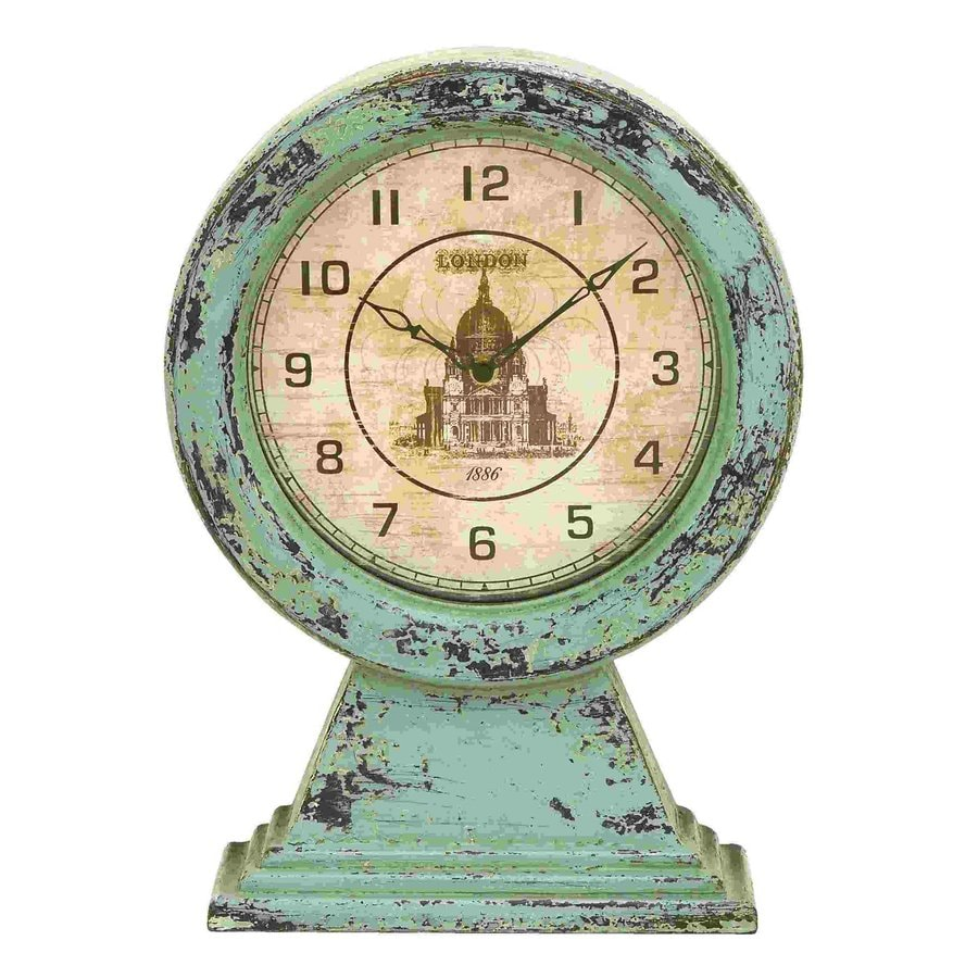 Woodland Imports Old Look London Analog Round Indoor Tabletop Clock