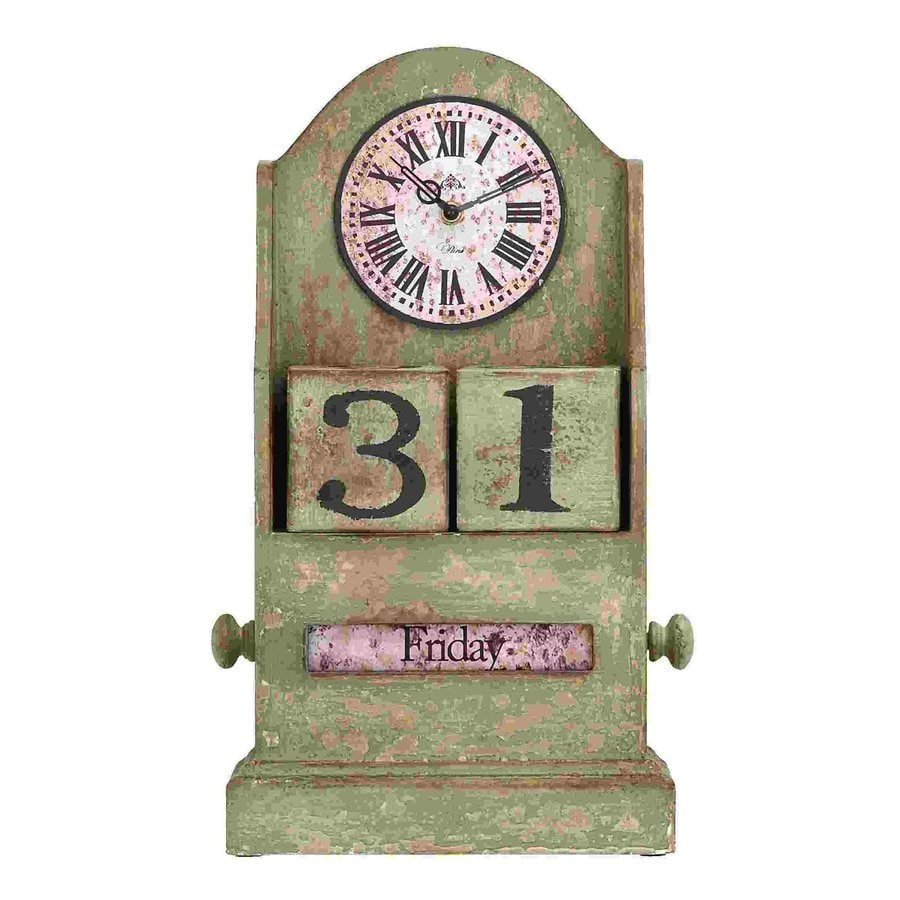 Woodland Imports Countryside Analog Round Indoor Tabletop Standard Clock