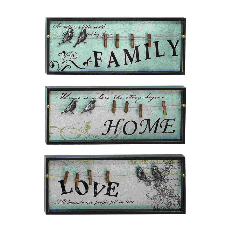 Woodland Imports 3-Piece 10-in W x 24-in H Framed Wood Family, Home, Love Sign Wall Art