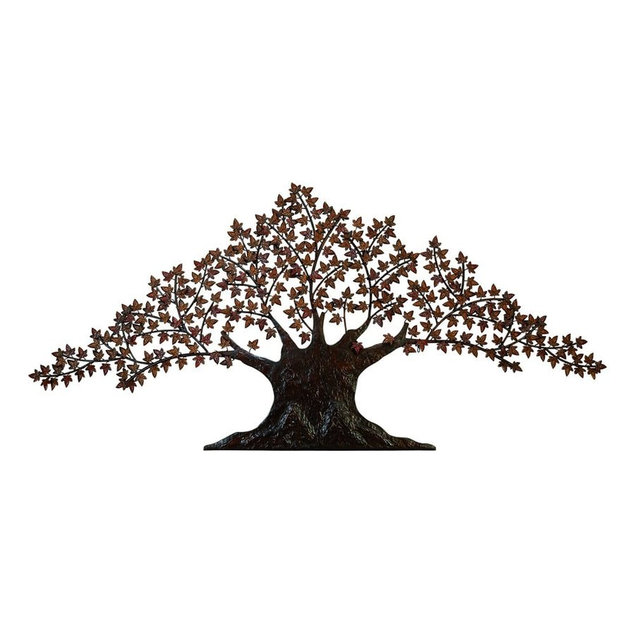 Woodland Imports 92-in W x 42-in H Frameless Metal Tree 3D Wall Art