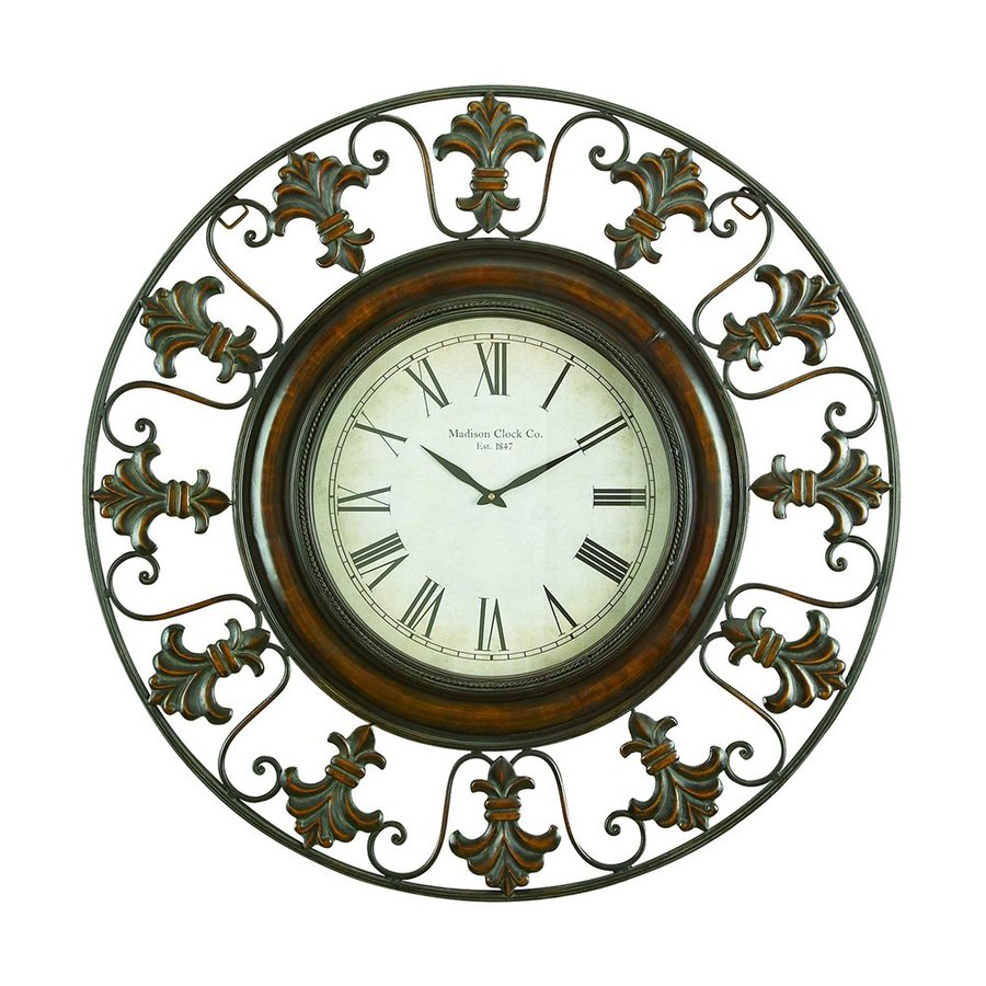 Woodland Imports Analog Round Indoor Wall Standard Clock with Flower Border