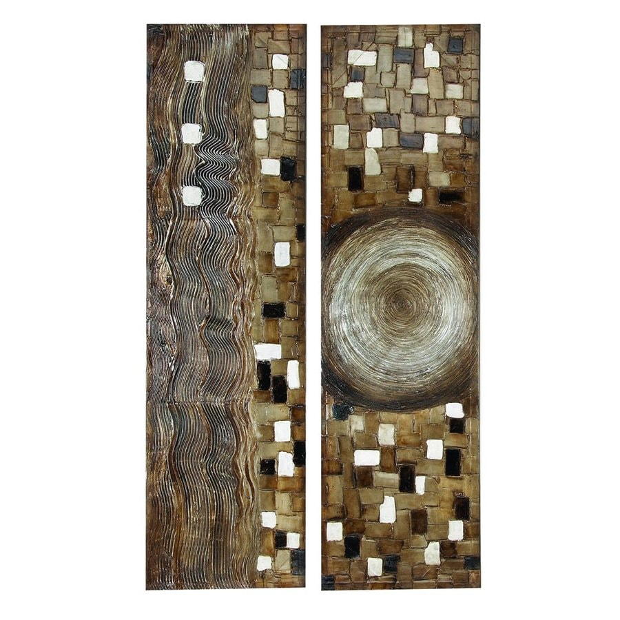 Woodland Imports 2-Piece 20-in W x 70-in H Frameless Canvas Abstract Original Painting Wall Art
