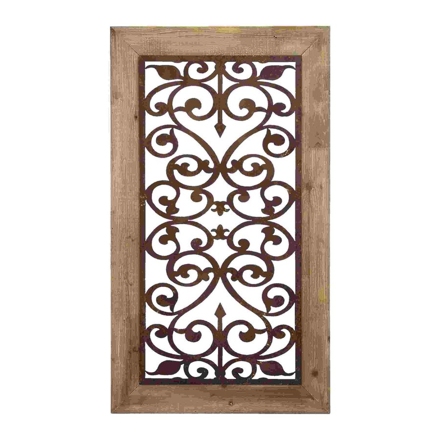 Woodland Imports 26-in W x 46-in H Framed Metal Garden-Style Panel 3D Wall Art