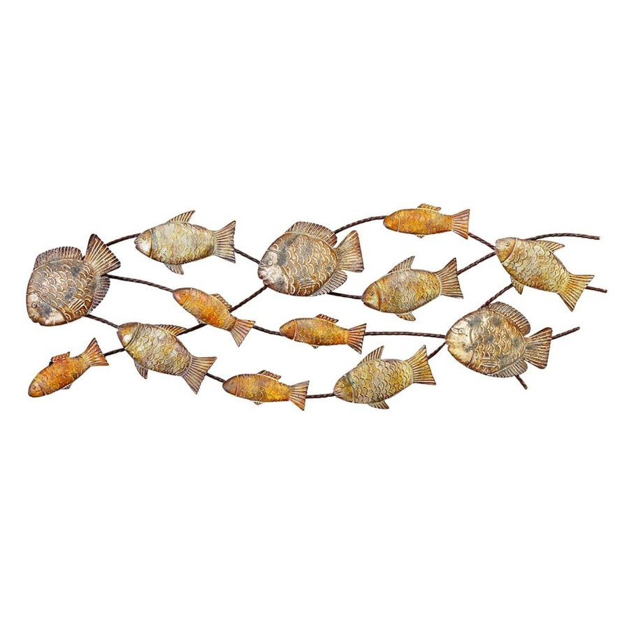 Woodland Imports 42-in W x 14-in H Frameless Metal Fish 3D Wall Art