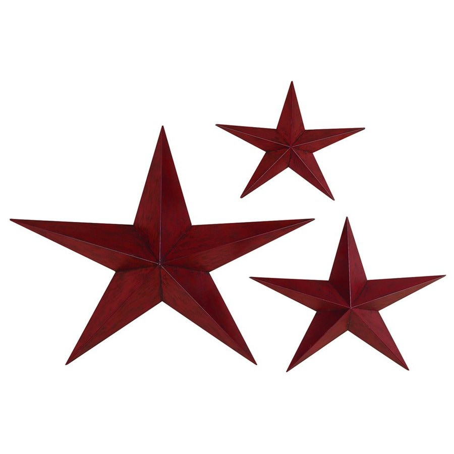 Shop woodland imports 3 piece w x h frameless metal stars for Kitchen cabinets lowes with outdoor metal star wall art