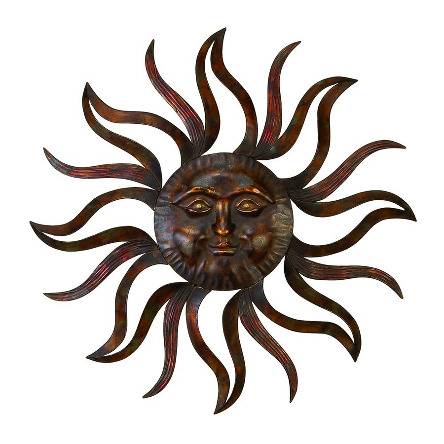 Woodland Imports 35-in W x 35-in H Frameless Metal Sun Sculptural Wall Art