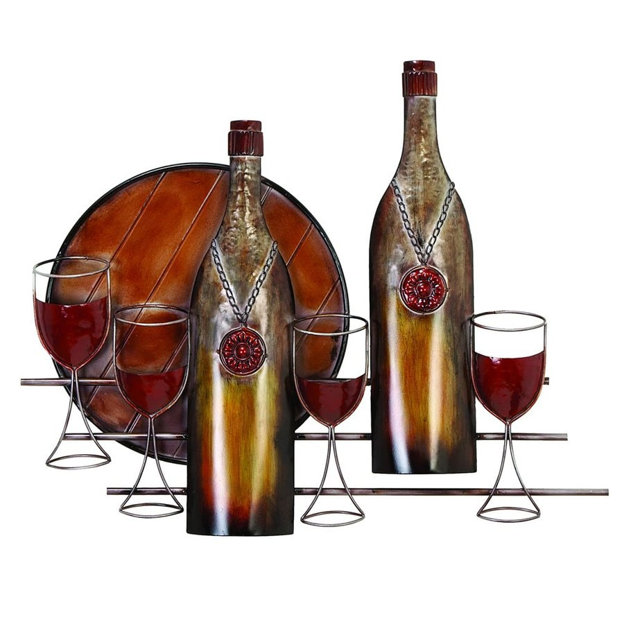 Woodland Imports 30-in W x 24-in H Frameless Metal Wine 3D Wall Art