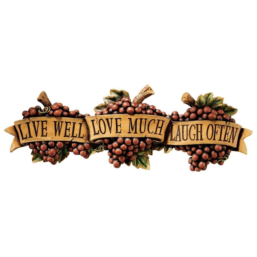 Design Toscano 25.5-in W x 9-in H Frameless Resin Live-Love-Laugh Sign Wall Art