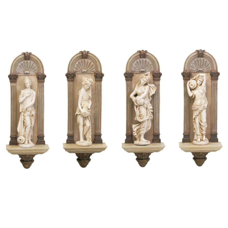 Design Toscano 4-Piece 6.5-in W x 18-in H Frameless Resin Water Nymphs Sculpture Wall Art