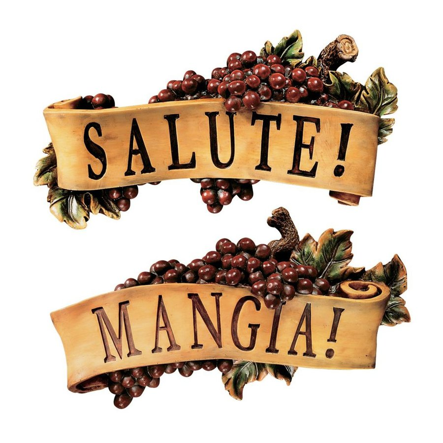 Design Toscano 2-Piece 12.5-in W x 7-in H Frameless Resin Salute and Mangia Sign Wall Art