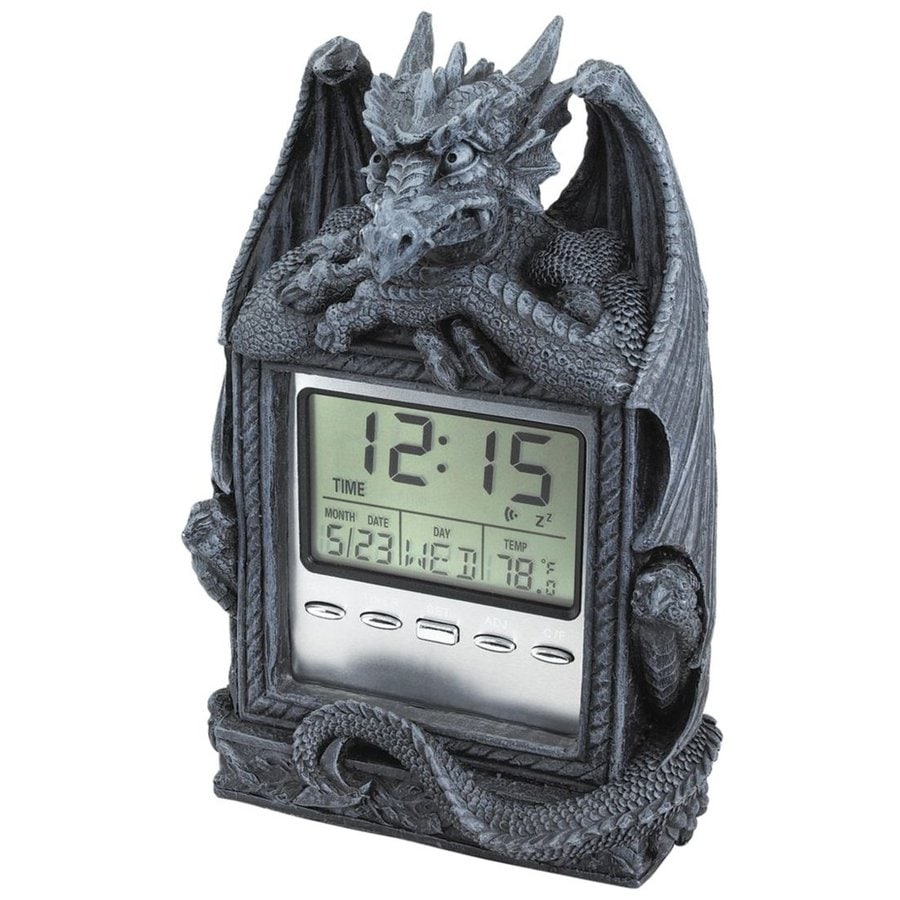 Design Toscano Dragon's Time Digital Rectangle Indoor Tabletop Standard Clock with Alarm Included