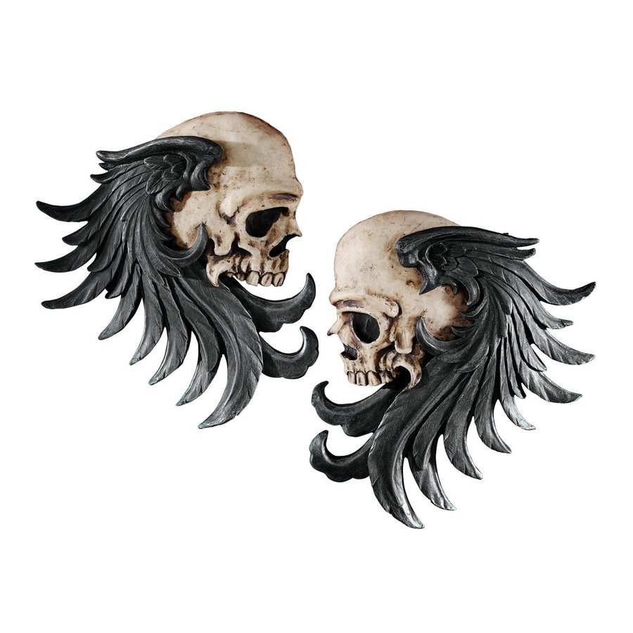 Design Toscano 2-Piece 7-in W x 9-in H Frameless Resin Bad to The Bones Winged Skull Sentinels Sculpture Wall Art
