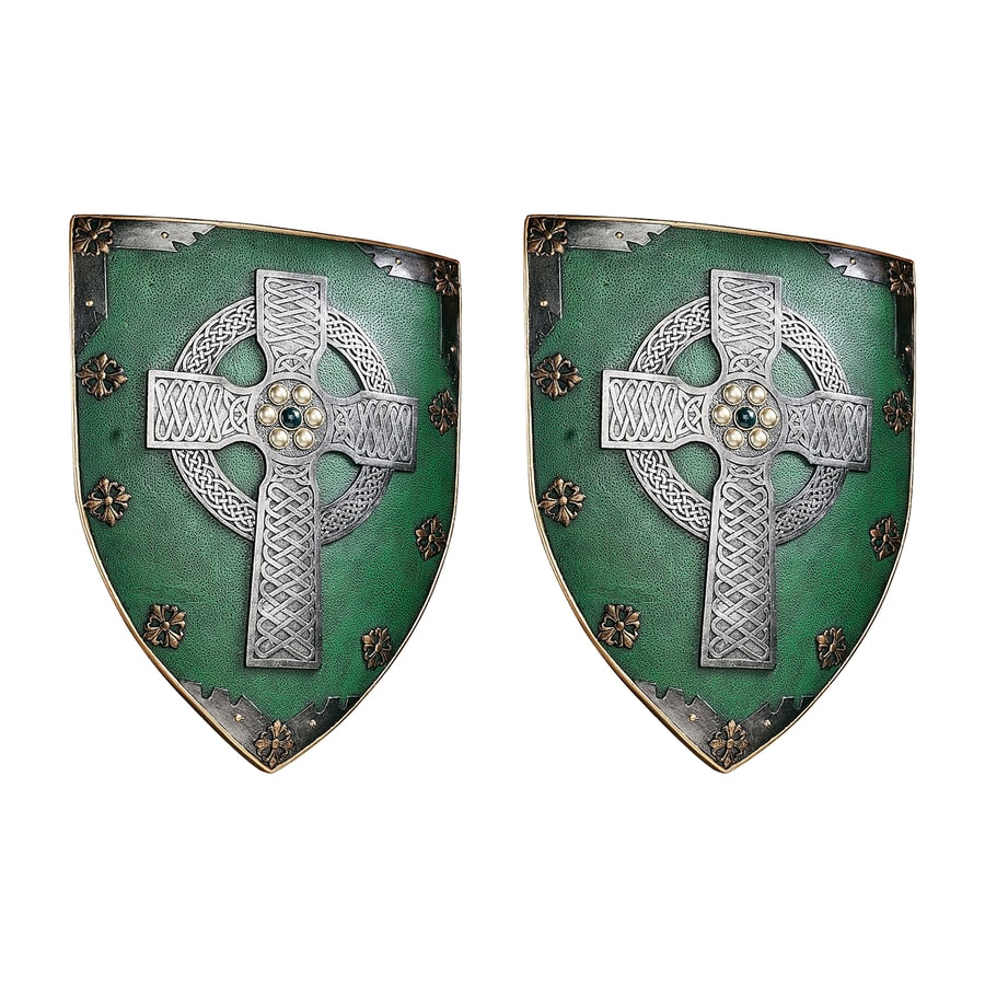 Design Toscano 2-Piece 13-in W x 18-in H Frameless Resin Celtic Warrior's Shield Sculpture Wall Art