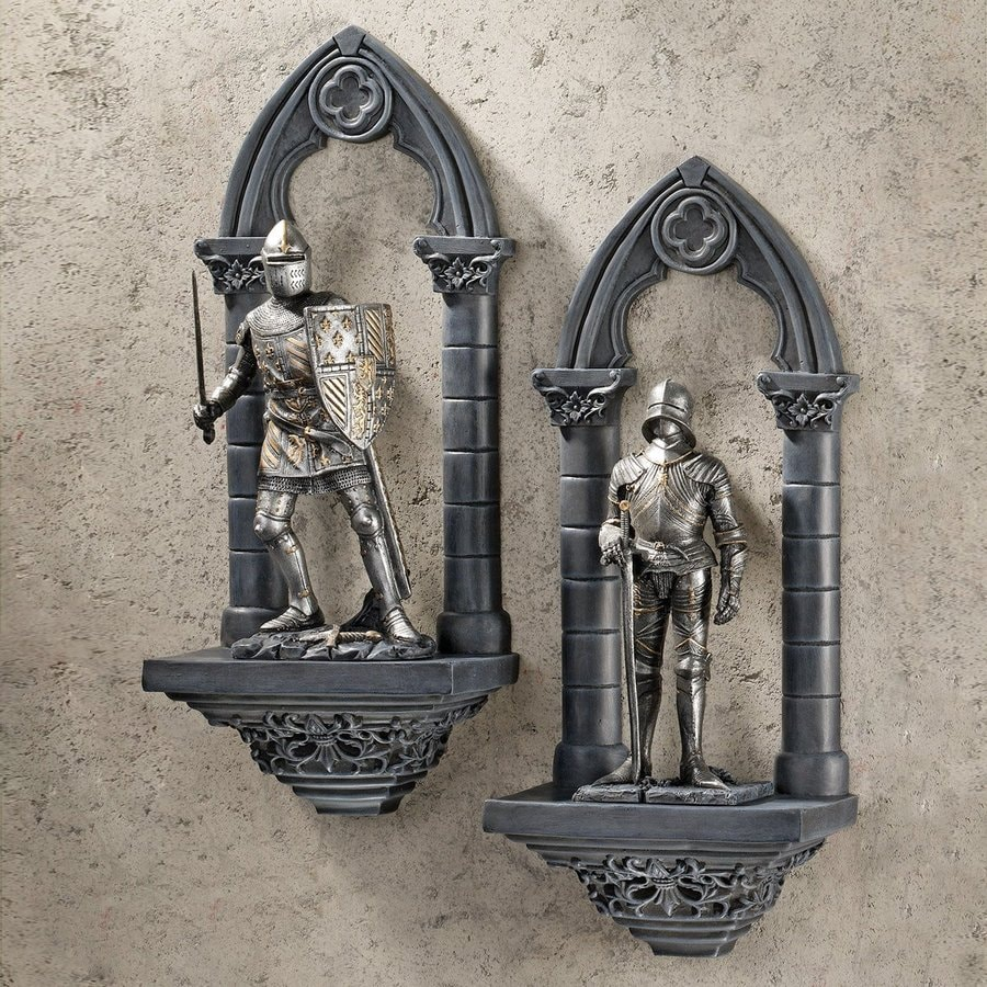 Design Toscano 2-Piece 5.5-in W x 13-in H Frameless Resin Knights Of The Realm Sculpture Wall Art