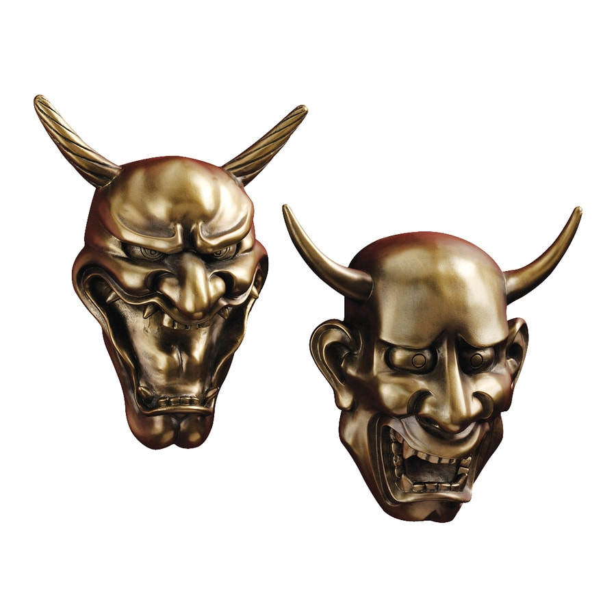 Design Toscano 2-Piece W x H Frameless Resin Hannya Demon Masks Sculpture Wall Art