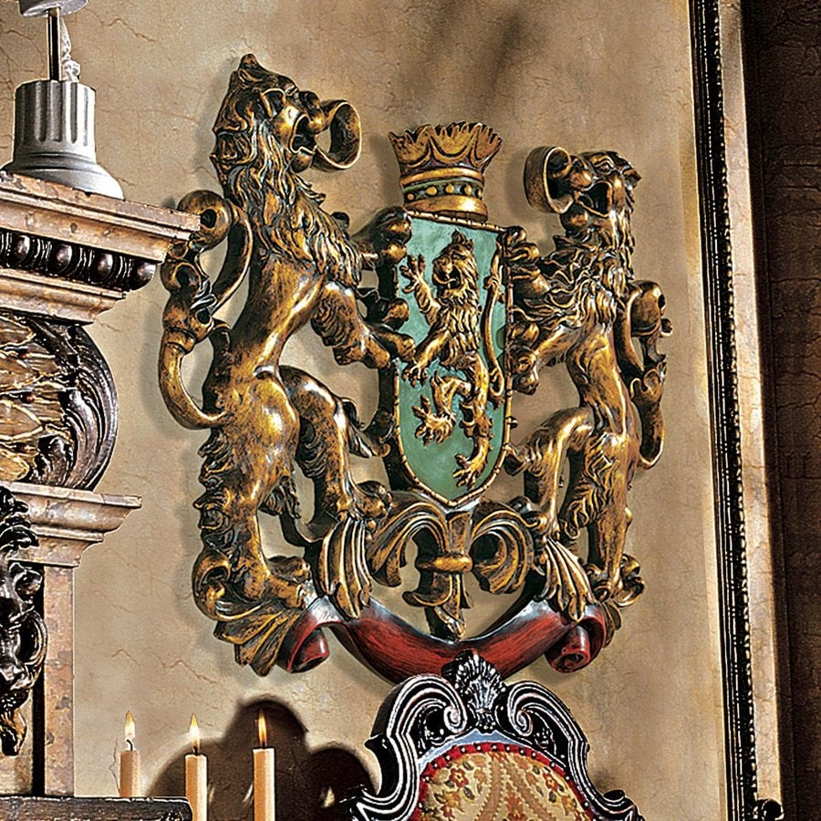Design Toscano 30.5-in W x 22.5-in H Frameless Resin Heraldic Royal Lions Coat Of Arms Sculpture Wall Art