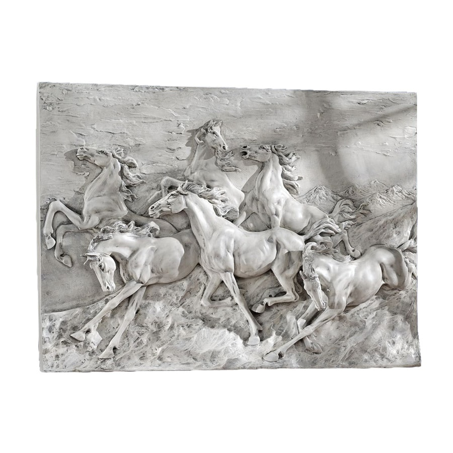 Design Toscano 36-in W x 27-in H Frameless Resin Wild Horses Stampede Sculpture Wall Art