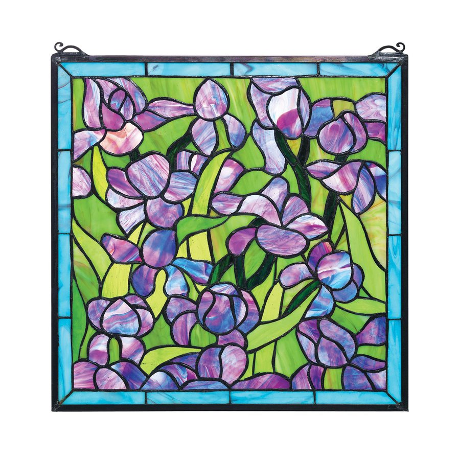 Design Toscano 17-in W x 17-in H Frameless Glass Saint-Remy Irises Stained Glass Wall Art