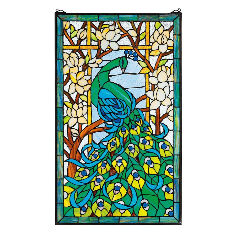 Design Toscano 20-in W x 34-in H Frameless Glass Peacock's Paradise Stained Glass Wall Art