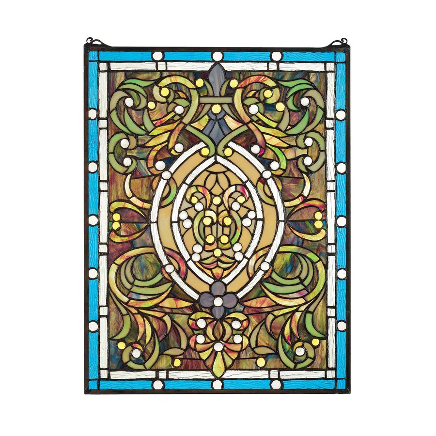Design Toscano 19-in W x 25-in H Frameless Glass Beguiled In Blue Stained Glass Wall Art